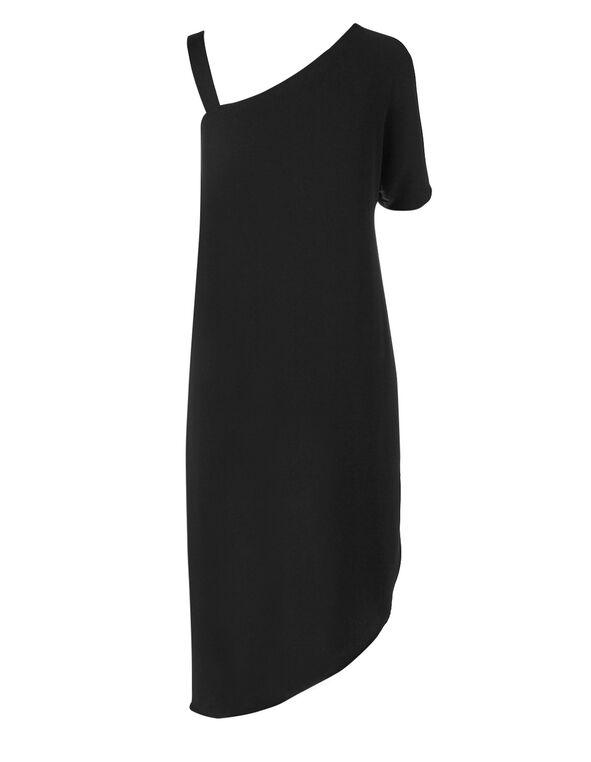 Black One Shoulder Long Blouse, Black, hi-res