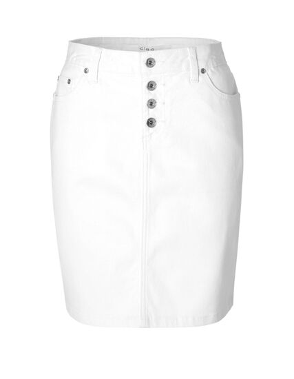 White Cotton Denim Skirt, White, hi-res