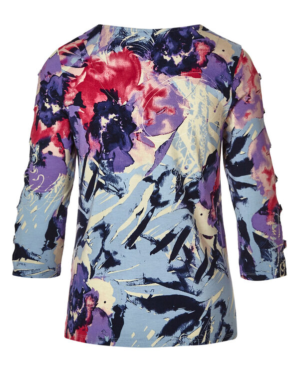 Pink Floral Ladder Sleeve Top, Pink/Purple/Blue, hi-res