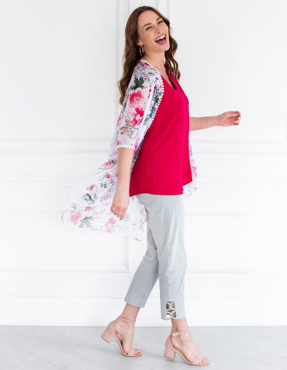Pink Floral Kimono, White/Pink, hi-res