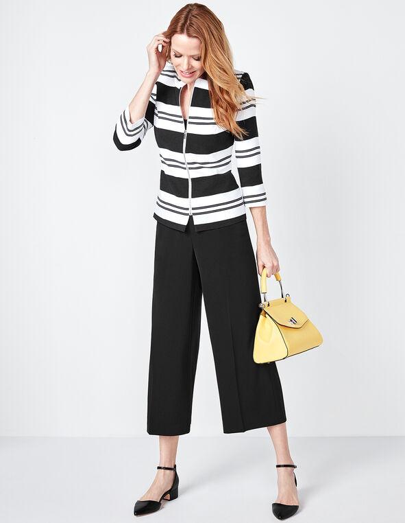 Striped Zip Front Blazer, White/Black, hi-res