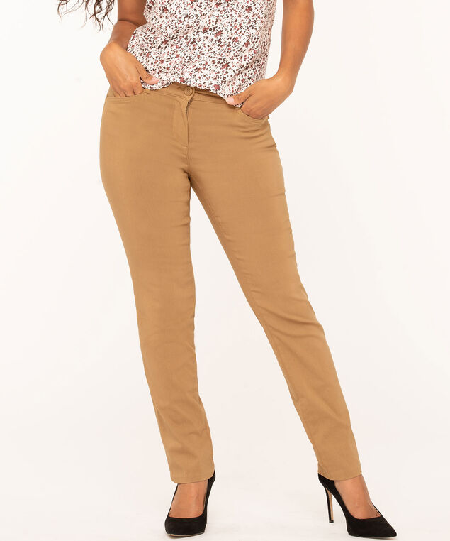 Camel Button Butt Lift Slim Pant, Camel, hi-res