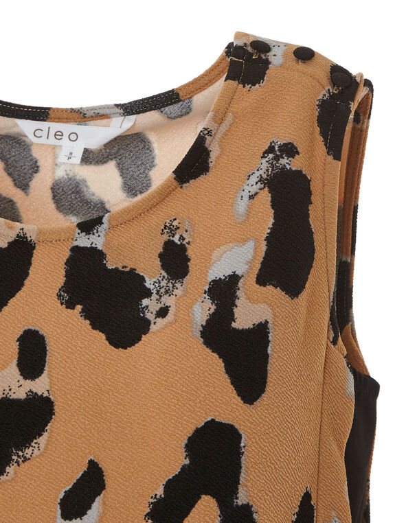 Animal Printed Chiffon Detail Top, Camel, hi-res