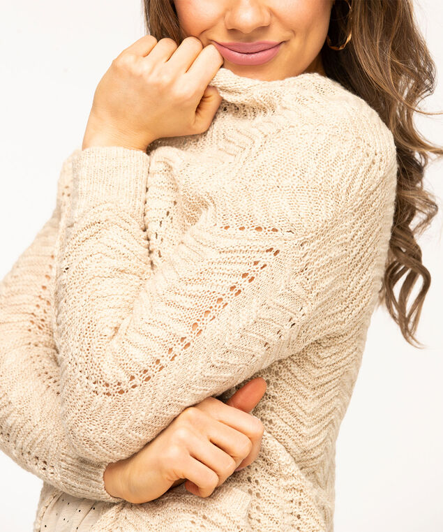 Pointelle Stitch Long Open Cardigan, Sand