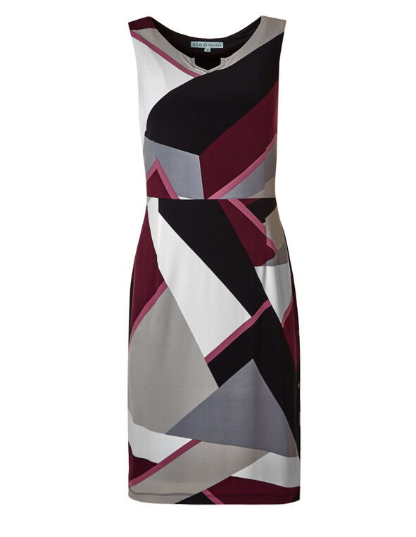 Wine Printed Sheath Dress, Wine, hi-res