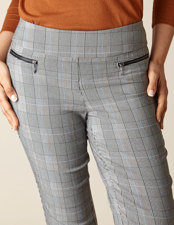 Plaid Zip Pull On Slim Pant, Black/White, hi-res