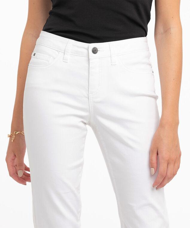 White Slim Denim Capri, White