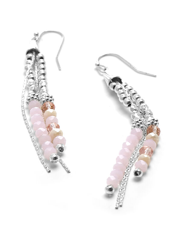 Pink Beaded Strand Earring, Pink, hi-res