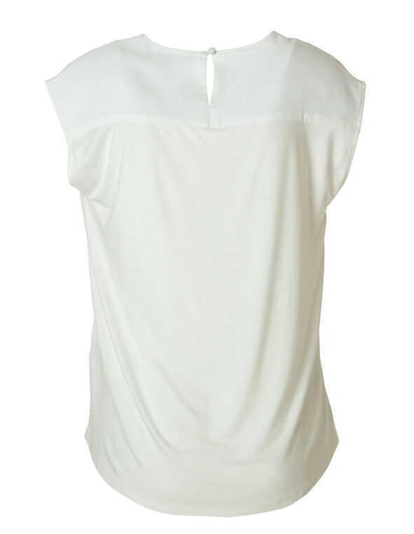 Ivory Woven Front Top, Ivory, hi-res