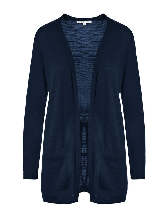 Summer Navy Long Slub Cardigan, Summer Navy, hi-res