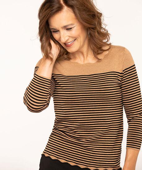 Scallop Edge Essential Sweater, Camel, hi-res