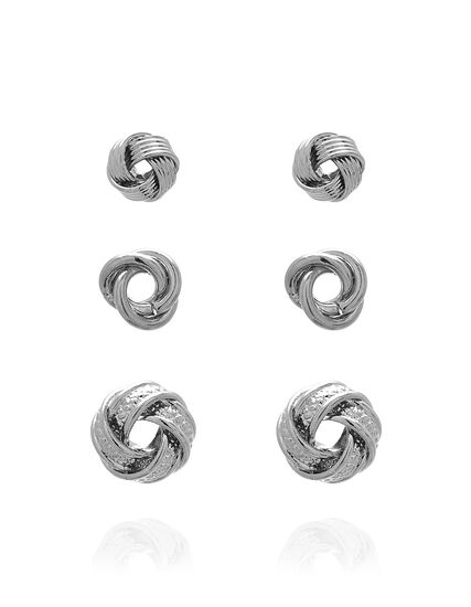 Love Knot Earring Trio Set, Silver, hi-res