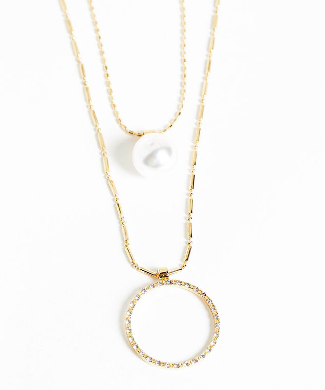 Layered Gold Pendant Necklace, Gold/Pearl