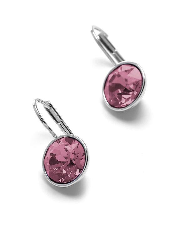Pink Genuine Crystal Earring, Pink, hi-res