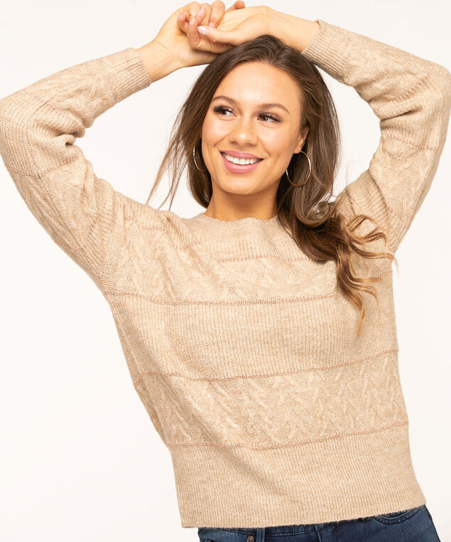 Beige Metallic Stripe Pullover Sweater, Beige/Rose Gold Metallic, hi-res