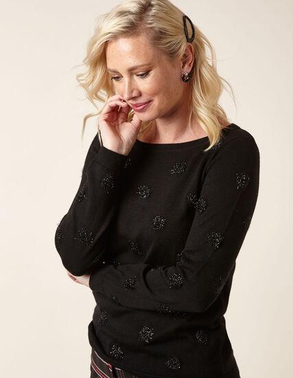 Black Tinsel Detail Sweater, Black, hi-res