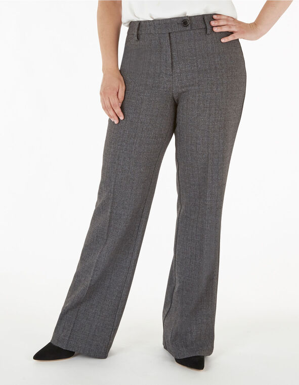 Grey Curvy Trouser Pant, Grey, hi-res