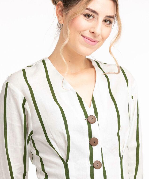 Linen Button Front Blouse, Ivory/Pesto Stripe