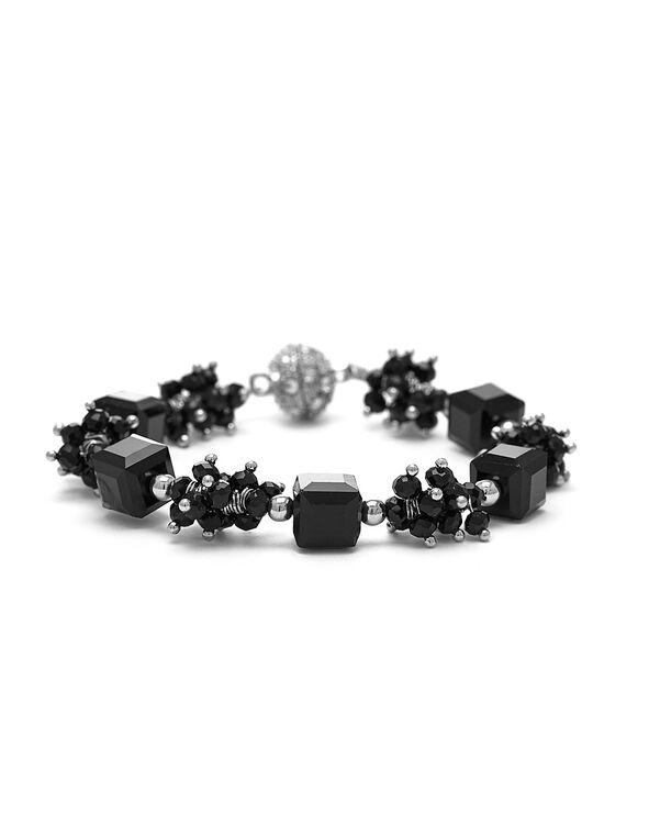 Black Beaded Magnetic Bracelet, Black, hi-res