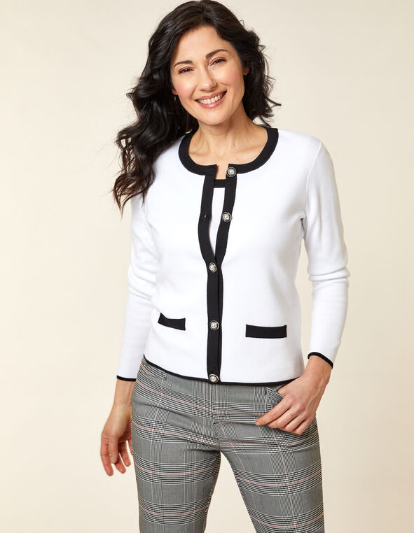 White Contrast Button Cardigan, White, hi-res