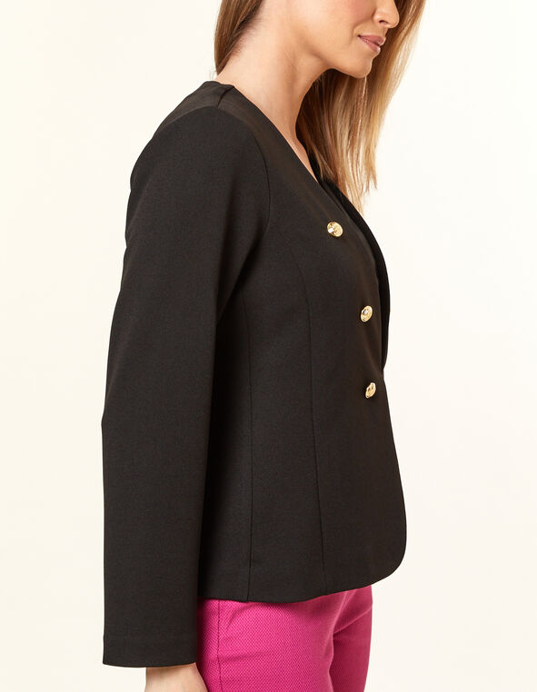 Black Military Blazer, Black, hi-res