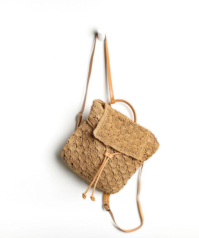 Crochet Drawstring Backpack, Dark Brown