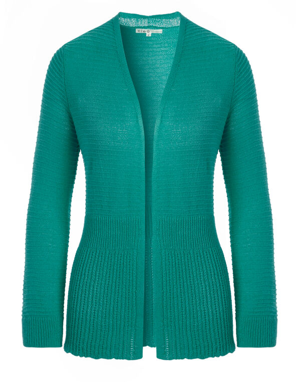 Turquoise Novelty Mid Open Cardigan, Turquoise, hi-res