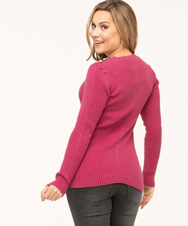 Pearl Detail Ribbed Sweater, Mid Pink