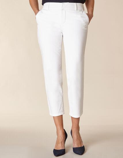 White Chino Slim Ankle Pant, White, hi-res