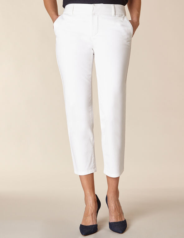 White Chino Slim Ankle Pant, White, hi-res