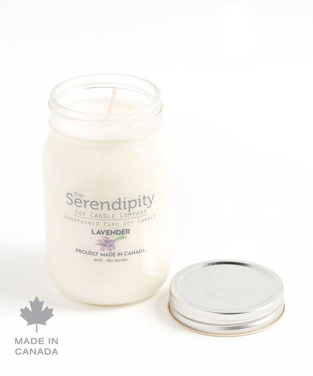 Lavender Soy Candle, White