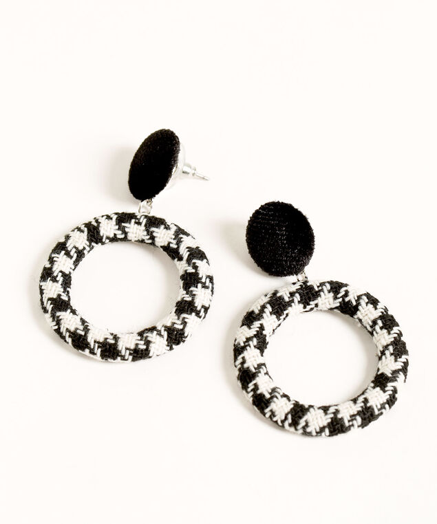 Houndstooth Drop Earring, Black/Ivory, hi-res