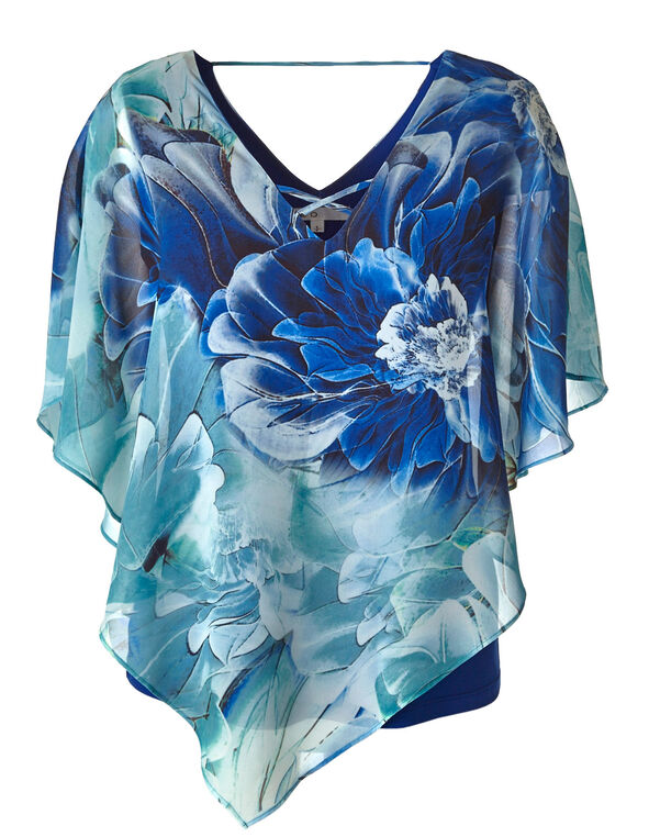 Blue Floral Caftan Blouse, Blue, hi-res
