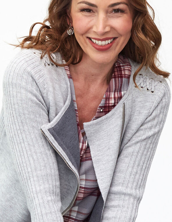 Grey Asymmetrical Sweater Coat, Grey, hi-res