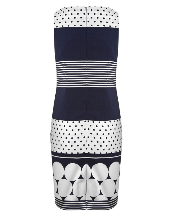 Navy Dotted Sheath Dress, Navy/White, hi-res