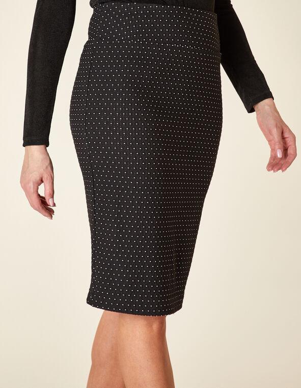 Pin Dot Pull On Pencil Skirt, Black/White, hi-res