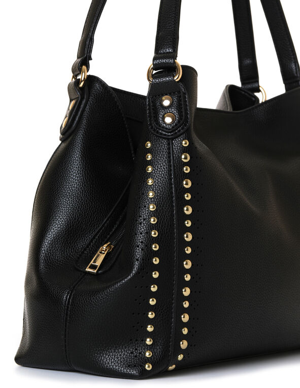 Black Studded Hobo Handbag, Black, hi-res