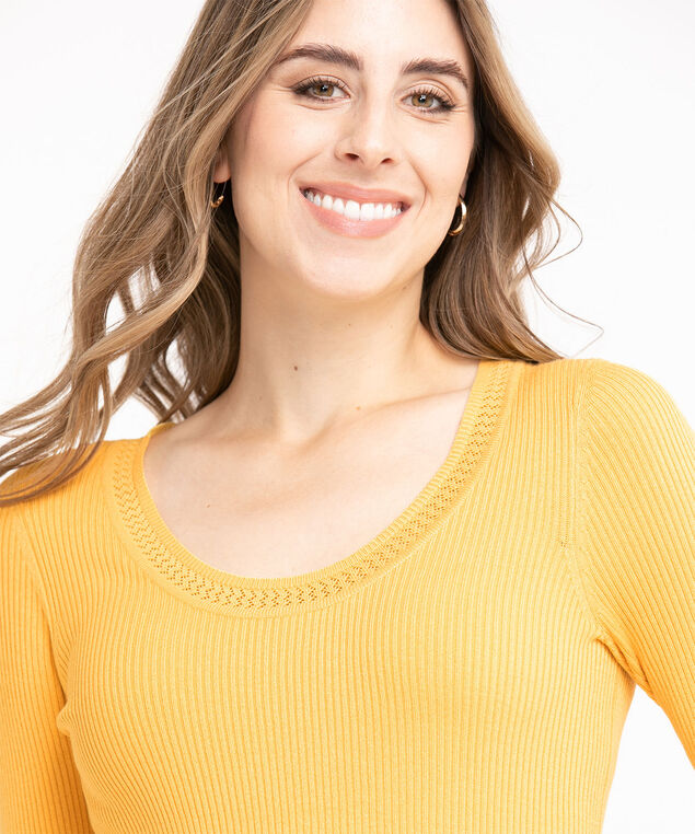 Low Impact 3/4 Sleeve Sweater, Washed Ochre