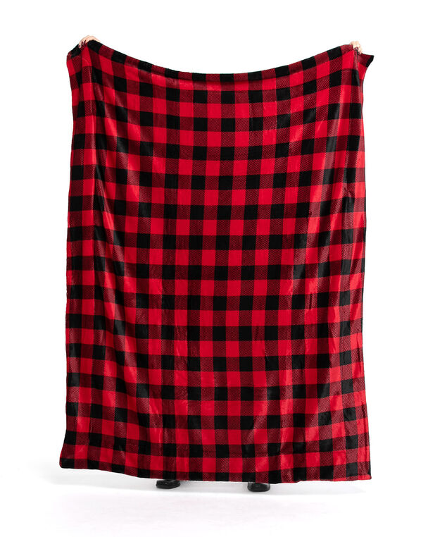 Buffalo Check Plush Blanket, Red/Black Buffalo Check
