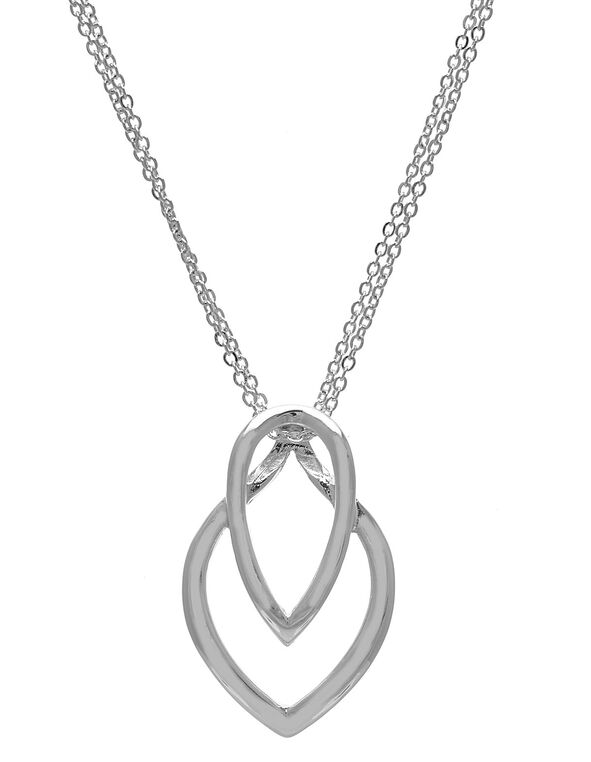 Silver Double Point Pendant Necklace, Silver, hi-res