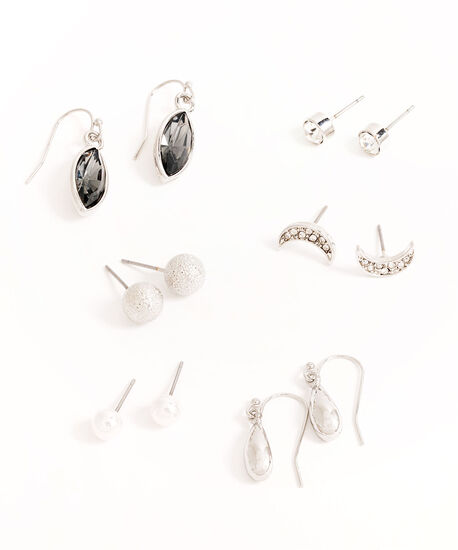 Silver Crystal Pearl Earring 6-Pack, Silver/Pearl, hi-res