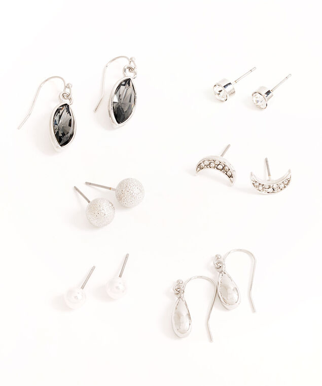 Silver Crystal Pearl Earring 6-Pack, Silver/Pearl