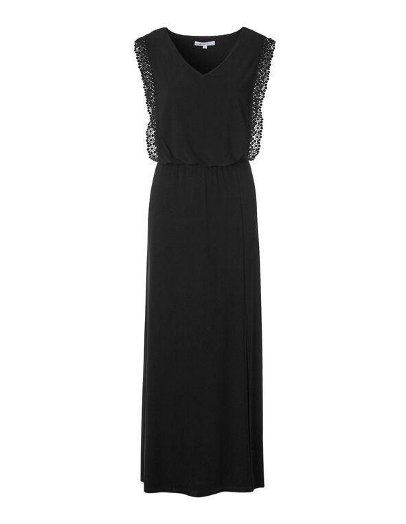 Black Maxi Crochet Sleeve Dress, Black, hi-res
