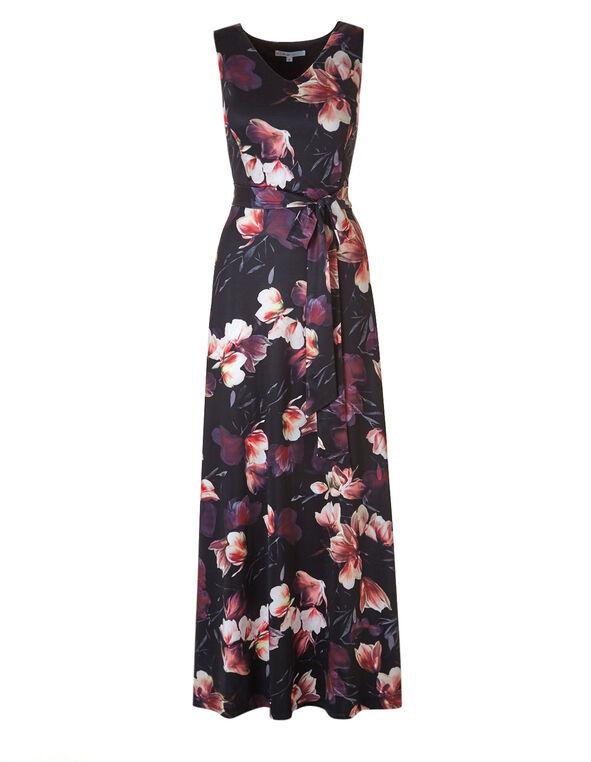 Black Floral Maxi Dress, Black, hi-res