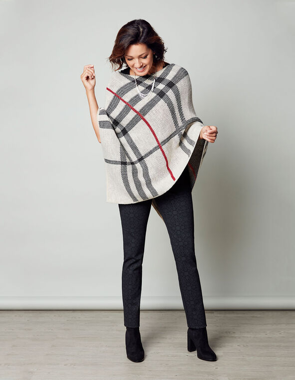 Latte Plaid Poncho Sweater, Latte, hi-res