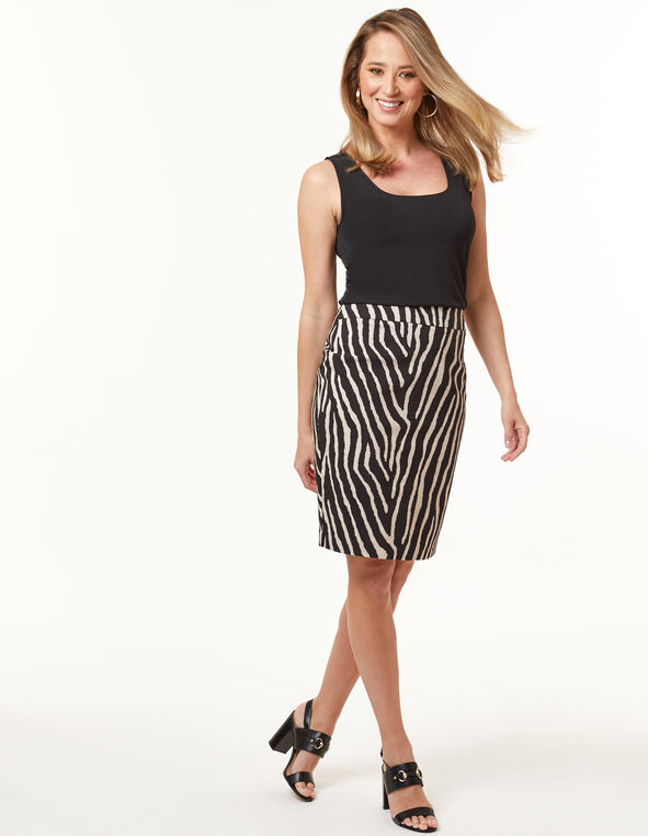 Tiger Print Pencil Skirt, Black, hi-res
