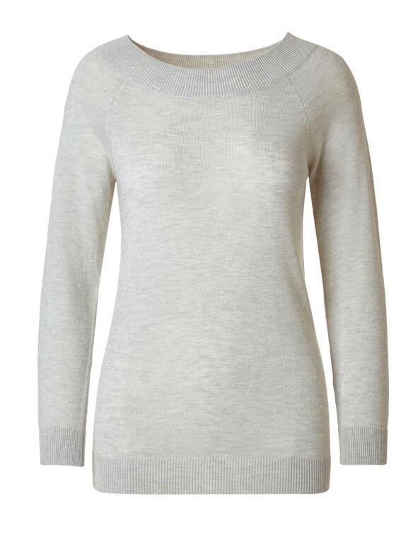 Ivory Shimmer Raglan Sweater, Ivory, hi-res