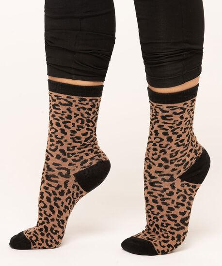 Leopard Print Crew Sock, Camel/Black, hi-res