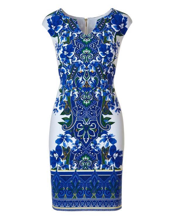 Blue Patterned Crepe Dress, White/Blue, hi-res