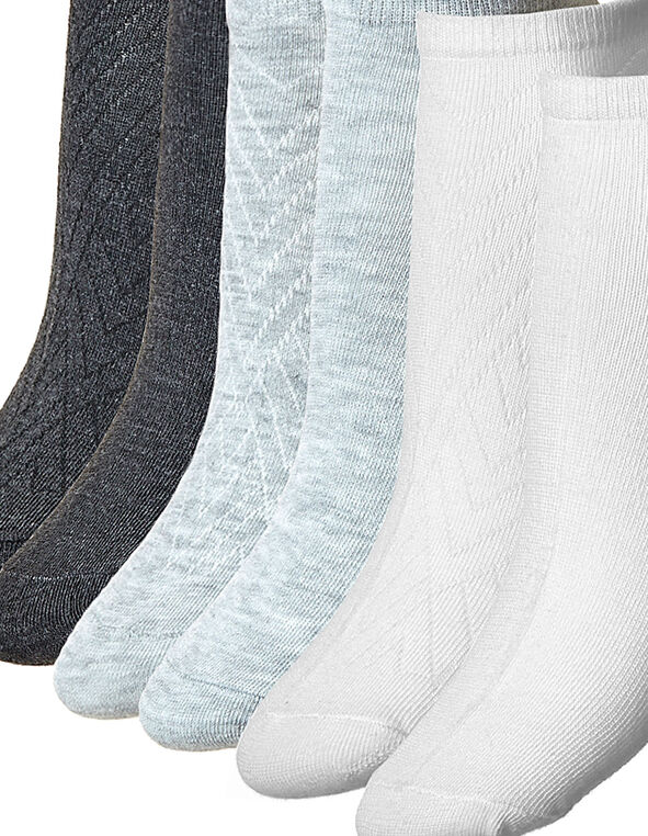 White & Charcoal Ankle Sock 6-Pack, Grey/White, hi-res
